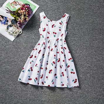 Floral Print Girl Dress A-line Baby Kid Children Clothing Sleeveless Kids Clothes For Girls Holiday Party