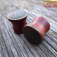 "Exotic Wood ""Xicalanca"" TRIBAL PLUGS - 1 New Pair - Choose from sizes 00 gauge 7/16"" 1/2"" or 9/16"""