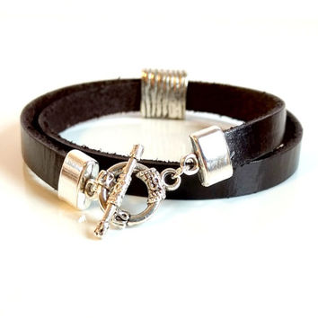 Double Wrap Leather Bracelet Boho Cuff Bracelet Flat Leather Cuff Dark Brown Leather Bracelet Gift Under 40 Made in Canada Leather Silver