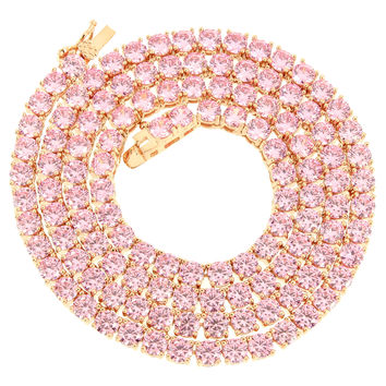 "Tennis Link 3mm 22"" 14k  Gold Finish Pink Lab Diamond  Necklace"