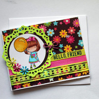 Hello Friend Greeting Card / Little  Girl with Balloon / Digi Stamped Card / Colorful Card / Blank Card