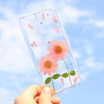Pink Chrysanthemum Case 100% Handmade Dried Flowers Cover for iPhone 7 7Plus & iPhone 6 6s Plus + Gift Box B61