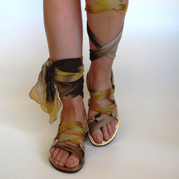 "Gold Leather Sandals, Unique design, with silk scarf straps  ""APHRODITE"" AS21"