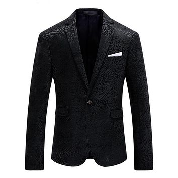 Black Men Slim Fit Printed Blazer and Suit Jacket Fashion Party Stage Wear Blazers