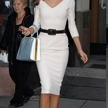 Free Shipping Victoria Beckhams V-neck Half sleeve One-piece Dress Pencil Skirtwhite Sexy Package Hip Slim Dress