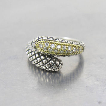 Andrea Candela DIamond Snake Ring, 18K Yellow Gold Sterling Silver Pave Diamonds, Crossover Bypass, Size 7 Ring, CJI Candela Hallmark