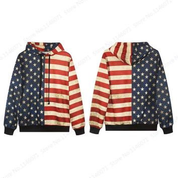 Vintage USA Flag Men's Sport Suits Retro Red Stripes White Star Skateboard Hoodie Autumn Full Sleeve Hoody Tracksuits Sweatshirt