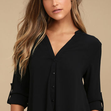 Rush Hour Black Button-Up Top