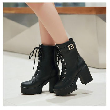 Women Boots Punk Round Toe High Boots Women Winter Boots Square Heel Ankle Boots