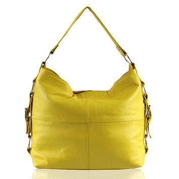 Leather Hobo Bag - Yellow Leather Bag , Shoulder Leather Bag , Cowhide , Sale priced - Isabella bag - paulina carcach