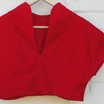 Vintage 80s-90s Red Polka Dot Cropped Top Boxy Blouse Retro Hipster High Fashion Pin Up