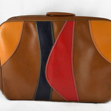 Vintage 1960s Swank Suitcase - Brown, Red, Black and Gold Vinyl