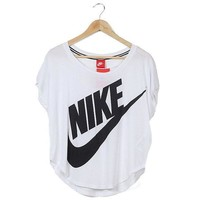 DCCKV3X Nike Women Irregular Short Sleeve Tunic Shirt Top Blouse