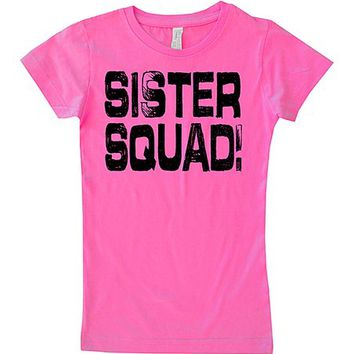 Micro Me Hot Pink 'Sister Squad' Fitted Tee - Toddler & Girls