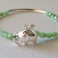 Good Luck Elephant, Sterling Silver Charm Bracelet, Beaded Bangle Bracelet - Seafoam Green