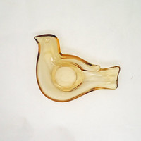 Amber Glass Bird Shaped Pin Dish, Vintage Amber Glass Pin Dish, Bird Shaped Ring Dish, UK Seller