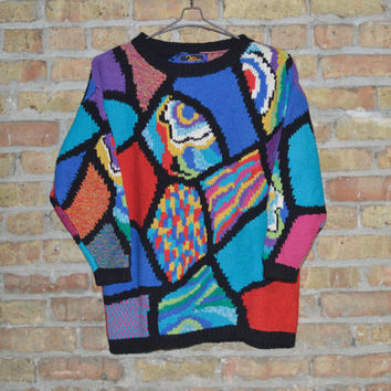80s Colorful Mosaic Sweater - M