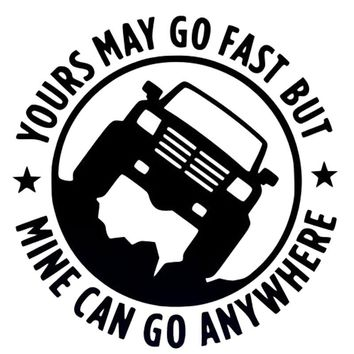 15CM*15CM Creative 4X4 YOURS MAY GO FAST MINE CAN GO ANYWHERE Funny Car Stickers C5-0774