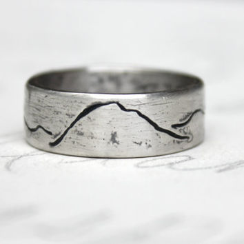 rustic mountain wedding band ring . ecofriendly recycled silver wide mountain landscape band . unisex alternative commitment ring . engraved