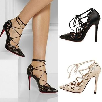 Womens Shoes High Heels Pumps Lace up Ankle Fashion Shoe