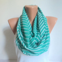 Green white striped scarf/ Loop scarf/ Chiffon scarf/ Scarves women/ Circle scarf/ Ready to shipping.