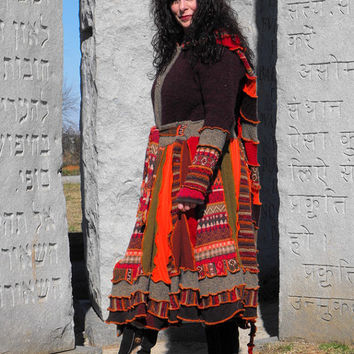 Sweater Coat, Bohemian, Gypsy, Festival Wear, Upcycled. One of a Kind