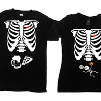 Matching Halloween Couple Shirts Pregnant Skeleton T Shirt Halloween Pregnancy Announcement Pizza And Beer Ribcage TShirt - SA845-474