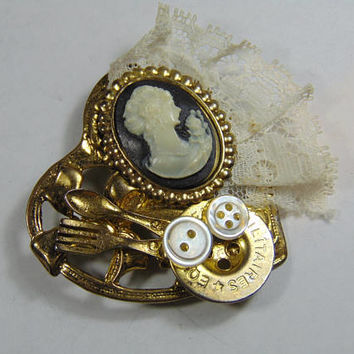 Steampunk Gold tone Heart with Fork Spoon, Sewing Button, Cameo, Lace Brooch Vintage Costume Jewelry