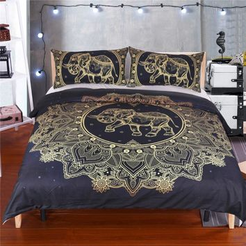 BeddingOutlet Mandala Elephant Duvet Cover With Pillowcase Black Dark Blue Bedding Set Queen Size Boho Bed Set Quilt Cover