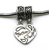 Sliver Bead Women Mother's day Love Heart Pendants Fit Pandora Charm Bracelets & Necklace