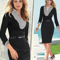 Black Long Sleeve Striped V-Neck Collar Pencil Dress