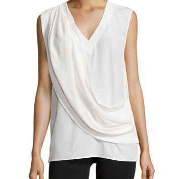 Liam Enzyme Washed Silk Draped Top, Ivory, Size: