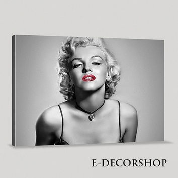 Marilyn Monroe Canvas Print   Marilyn Monroe Art Canvas Painting   Black and Red, Gray  Large Canvas Print