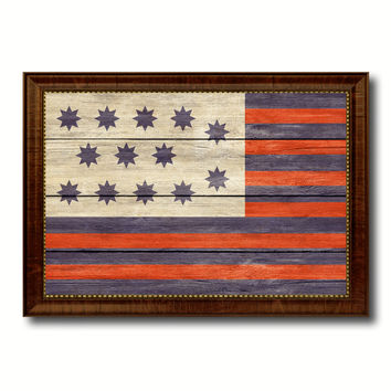 Guilford Courthouse North Carolina Revolutionary War Military Flag Texture Canvas Print with Brown Picture Frame Home Decor Wall Art Gifts