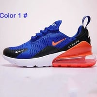 Nike Air Max 270 Splicing Color Tail Sole Men Running Shoes Sneakers B/A Blue/red