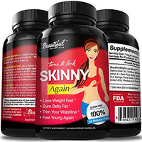 Diet Pills SKINNY AGAIN | 100% Natural Weight Loss Pills | Non-GMO, Gluten Free & Vegan. Appetite Suppressant that Work Fast for Women & Men. Best Fat Burners to Slim, Lose, Trim & Burn Belly Fat Fast