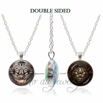 2017 New Alice Adventures in Wonderland Double Face Necklace Charms Jewelry Cheshire Cat Pendant Glass Dome Necklaces