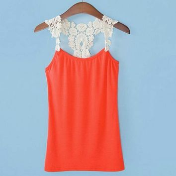 FINEJO Women Lace Strap Sleeveless Shirt Vest Blouse Tank Crop Top 4 Colors