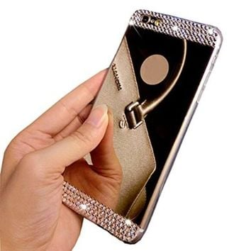 "Ebestsale(TM) Handmade Bling Diamond Mirror Soft TPU Silicone Case Back Cover for apple iphone 6 Plus 5.5"" 6+ 5.5 inch£¬ Bling-Gold"