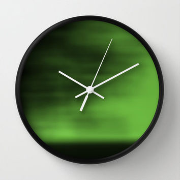 Green Blurred Sky Wall Clock, Abstract Photography, Nature Photography, Landscape Photography, Minimalist Photo, Green Clock, Neon, Apple
