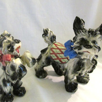 Italian spaghetti hair Scottie terrier dogs black and white ceramic figurines Pair 1950s
