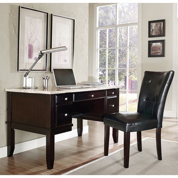 Steve Silver Monarch White Marble Top Writing Desk w/ Parsons Chair