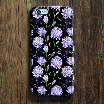 Black Violet  Chic Floral iPhone 6s Case iPhone 6s Plus Case iPhone 6 Cover iPhone 5S 5 iPhone 5C iPhone 4/4ss Galaxy S6 Edge Galaxy s6 s5 Galaxy Note 5 Phone Case 146