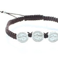 Men or Women's Catholic & Religious Brown St. Benedict Medal Adjustable Cord Bracelet with 3 Medals. Catholic Saint Benedict Patron Saint of Kidney Disease, Poison Sufferers, Students, Poisoning, School Children, Homeless, Monks.
