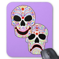 Halloween DOTD Comedy-Tragedy Skulls Mouse Pad