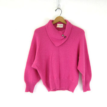60s SLOUCHY Pink sweater soft fuzzy sweater cowl neck vintage sweater. retro Pin Up Girl women's Medium