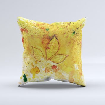 Yellow Leaf-Imprinted Paint Splatter ink-Fuzed Decorative Throw Pillow