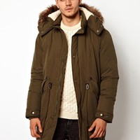 ASOS Fishtail Parka With Down - Olive