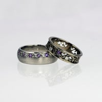Amethyst wedding ring set, white gold wedding ring, white sapphire wedding, men Amethyst ring, unique, matching wedding, purple, filigree