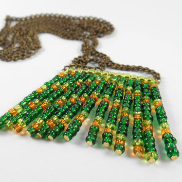 Green and Orange Statement Long Necklace Boho Style Tribal Chevron Beadwork Glass Bead Necklace Festival Jewelry Coachella Necklace